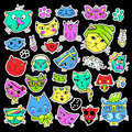Pop art set with fashion patch badges. Cats and kittens Stickers, pins, patches, quirky, handwritten notes collection