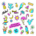 Pop art set with fashion patch badges and different tropical elements. Stickers, pins, patches, quirky, handwritten
