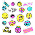 Pop art set with fashion patch badges smiles stickers pins patches quirky handwritten notes collection s s style trend vector Royalty Free Stock Image