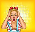 pop art pin up shocked, surprised blonde girl with opened mouth. Sale illustration, discount, advertising poster
