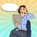 Pop Art Shocked Woman Reading a Newspaper. Bad News