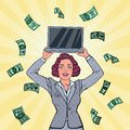 Pop Art Smiling Business Woman with Laptop and Falling Down Money. Career Growth Royalty Free Stock Photo