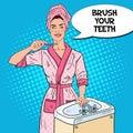 Pop Art Smiling Young Woman Brushing Teeth in Bathroom. Dental Hygiene