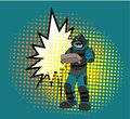 Pop art style comic art and halftone vector.Bomb Disposal Expert comic vector.pop art Man in EOD Suit with balloon.