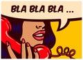 Pop art style comics panel with girl talking on vintage telephone vector illustration