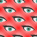 Pop art style halftone eyes pattern Royalty Free Stock Photo