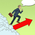 Pop Art Successful Businessman Walking to the Top through the Clouds