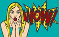 Pop art surprised blond woman face with open mouth. Comic woman with speech bubble. Eps 10