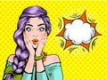 Pop art surprised woman beautiful face with open mouth and bright violet hair on dotted background. Comic woman with