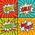 Pop-art web banners. Bingo. Free. Sale. Best price. Lottery game background. Comics pop-art style bang shape on a red Royalty Free Stock Photo