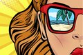 Pop art Woman with beach and sea reflection in summer. Comic girl face for travel shops