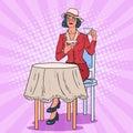 Pop Art Woman Drinking Tea in Cafe. Coffee Break