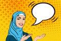 Pop art woman in hijab
