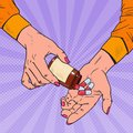 Pop Art Woman Holding Bottle with Medical Drugs. Female Hands with Pills. Pharmaceutical Supplement