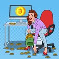 Pop Art Woman Miner Put Bitcoins in BackPack. Crypto Currency Business Technology. Virtual Money Royalty Free Stock Photo