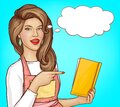 Pop art woman pointing finger into open cook book Royalty Free Stock Photo