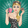 Pop Art woman portrait with morning cup of tea and donut Royalty Free Stock Photo