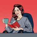 Pop Art Woman Reading Book and Drinking Coffee Royalty Free Stock Photo