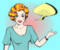Pop art woman with speech bubble, pin up retro style woman