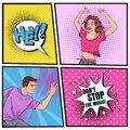 Pop Art Young Woman and Man Dancing. Excited Teenagers. Disco Club Vintage Poster, Music Placard Comic Speech Bubble Royalty Free Stock Photo