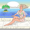 Pop Art Young Woman Sitting on Private Yacht in Sea. Beach Vacation