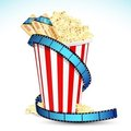 Pop Corn with Movie Ticket Stock Image