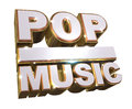 Pop music - Golden 3d logo