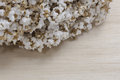 Pop rice on wood background Royalty Free Stock Photo