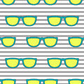 Pop sunglasses retro seamless pattern in neon yellow and blue. Royalty Free Stock Photo