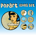 Popart Comic Icons Set Cookery Stock Photo