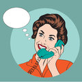 Popart comic retro woman talking by phone vector illustration Royalty Free Stock Photos