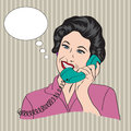 Popart comic retro woman talking by phone vector illustration Royalty Free Stock Images
