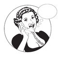 Popart comic retro woman talking by phone vector illustration Stock Photos
