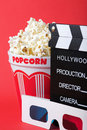 Popcorn, 3D glasses & clapperboard Royalty Free Stock Image