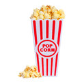 Popcorn in box isolated Royalty Free Stock Photo