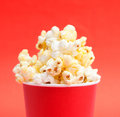 Popcorn box of on a red background Stock Photography