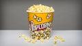 Popcorn bucket with kernels Royalty Free Stock Photo