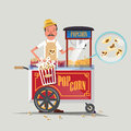 Popcorn cart with seller - Royalty Free Stock Photo