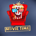 Popcorn character design sitting on sofa and watching movie. mov