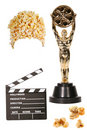 Popcorn, Clapper, and Oscar Statue Isolated Royalty Free Stock Image