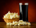Popcorn and cola drink Stock Images