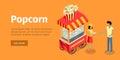 Popcorn Conceptual Isometric Vector Web Banner