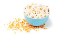 Popcorn and corn  on white Royalty Free Stock Images