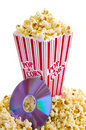 Popcorn and DVD Royalty Free Stock Photo