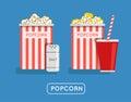 Popcorn food  illustration. Popcorn in bucket. Big popcorn Royalty Free Stock Photo
