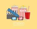 Popcorn food vector illustration. Popcorn in bucket. Big popcorn Royalty Free Stock Photo