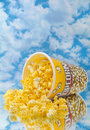 Popcorn on glass with cloud Stock Photos