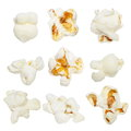 Popcorn isolated on white macro background Stock Image