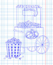 Popcorn machine on on wheels and big striped carton box full of fresh delicious drawn in chalk Stock Image