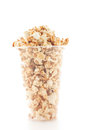 Popcorn In Plastic Cup On White Background. Royalty Free Stock Photo